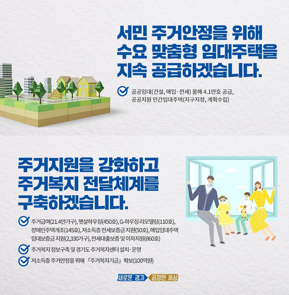 경기도는 수요 맞춤형 임대주택 지속 공급 분야로 올해 2만9,000호의 공공건설임대와 매입·전세임대 1만2,000호 등 임대주택 총 4만1,000호를 공급할 계획이다.
