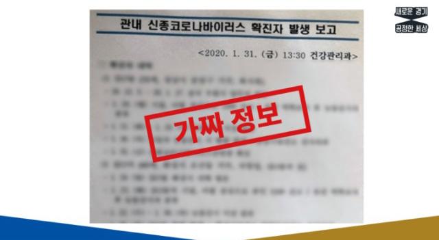 경기도는 지난 3일 신종 코로나바이러스 감염증 관련 도민의 혼란과 불안을 야기하는 가짜뉴스를 적발, 경찰에 수사를 의뢰했다.