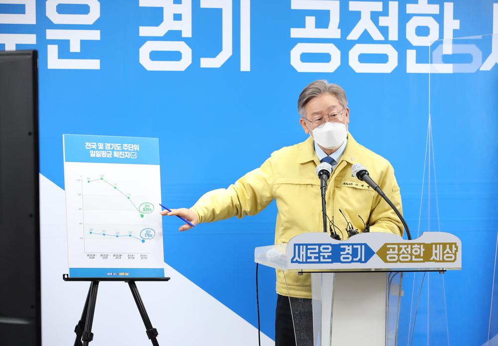 이재명 경기도지사가 20일 경기도청에서 '2차 경기도 재난기본소득 지급 관련 도민 보고'를 발표하고 있다.