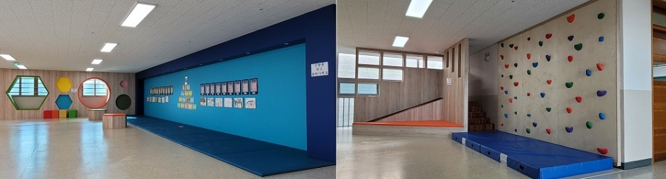 3층은 전시 공간과 휴식 공간, 4층은 암벽타기와 미끄럼틀이 있어서 쉬는 시간에도 즐겁게 보낼 수 있다.
